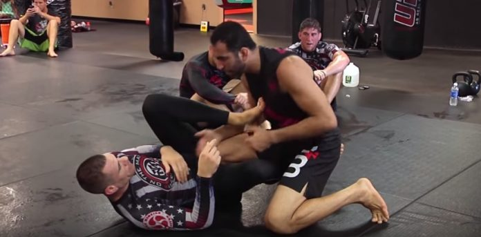 Braulio Estima drilling ankle locks with Rafael Lovate Jr and Xande Ribeiro