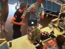 Judo guy slapped in a supermarket