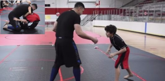 15 years old kid vs giant in bjj open weight match