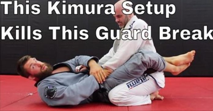 Kimura setup for white belts to stop guard break and pass