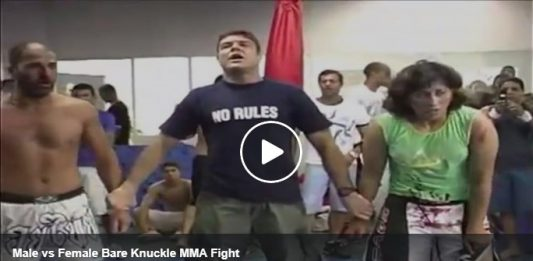 Man vs. Woman MMA challenge match in Brazil