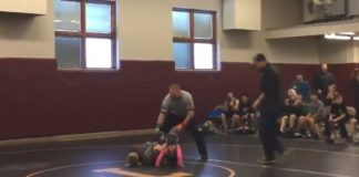 Little Boy Runs Out To Protect His Sister in a Wrestling Match