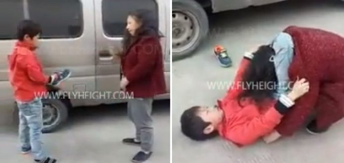 Boy Puts His Mother in a Triangle Choke After She Tried to Spank Him