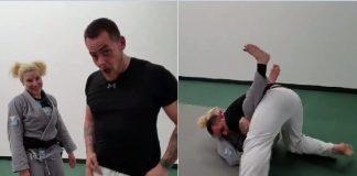 120 lbs Female BJJ Black Belt vs Much Larger Male Challenger 257 lbs
