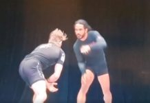 Watch Benson Henderson's Double Leg Taking Down AJ Agazarm and the Referee off the stage
