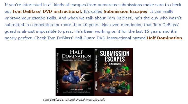 Tom DeBlass Half Guard Escapes
