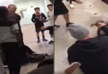 Teacher Puts a Kid in A leg Lock After Being Knocked Down