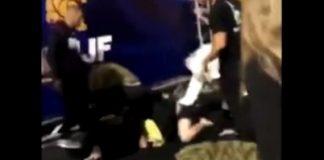 Ribeiro Jiu-Jitsu White Belt punching People at the IBJJF Long Beach Podium