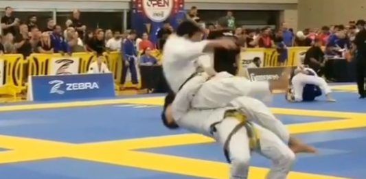 Brown Belt Knocking out His Opponent With Crazy SUPLEX at IBJJF Austin