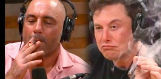 Joe Rogan and Elon Musk smokes weed in Joe Rogan's Podcast