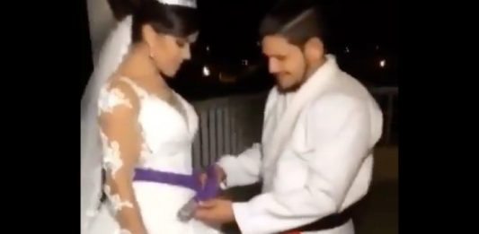 Couple getting married, she got promoted to a purple belt