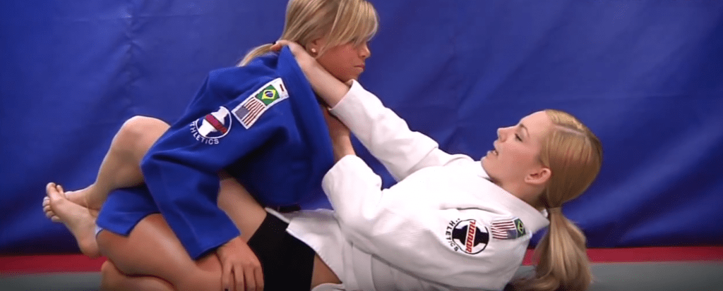 collar choke from guard 1024x413 - The Best Submissions For BJJ Beginners To Focus On