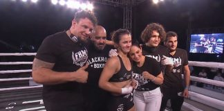 Frank mir and his daughter Bella Mir with the team after her first MMA pro debut